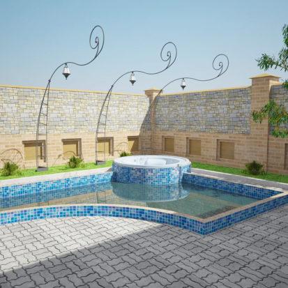 Бассейн на улице экстерьер дома