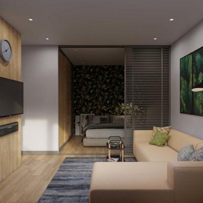 Гостинная в однокомнатной квартире