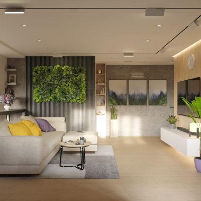 Дизайн гостиной вертикальное озеленение