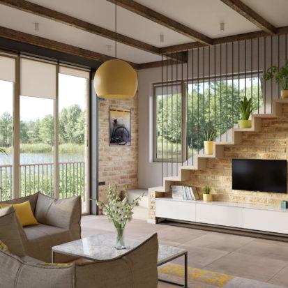 Дизайн гостиной в жилом доме