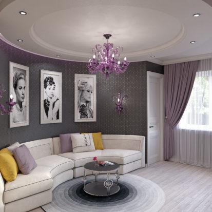 Дизайн гостиной в стиле гламур