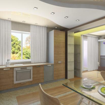 Дизайн двухкомнатной квартиры кухня