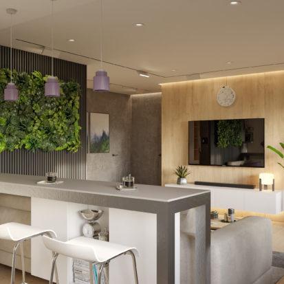 Дизайн проект гостиной с барной стойкой