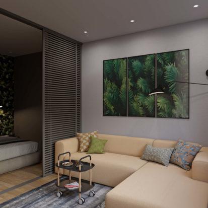 Дизайн проект однокомнатной квартиры спальня