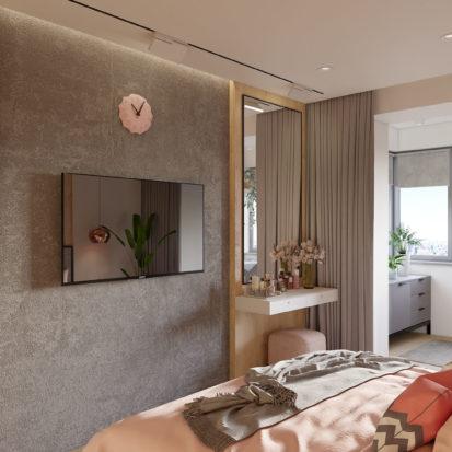 Дизайн проект спальни в новостройке