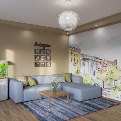 Интерьер гостиной роспись стен