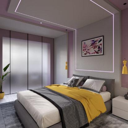 Кровать в спальне дизайн квартиры