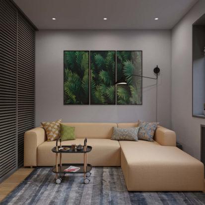 Ремонт гостинной в однокомнатной квартире