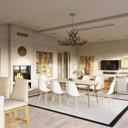 Дизайн кухни студии в современном интерьере квартиры