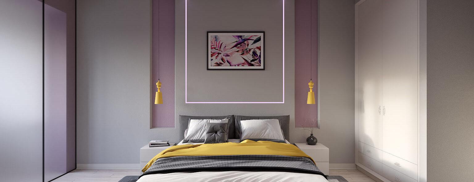 Интерьер спальни подсветка
