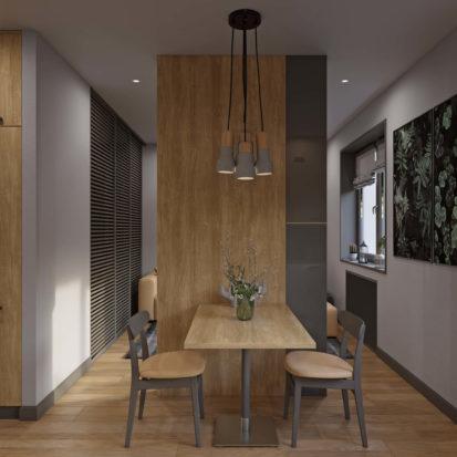 Обеденный стол в однокомснатной квартире