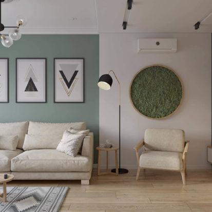 Дизайн интерьера однокомнатной квартиры в Днепр - гостиная