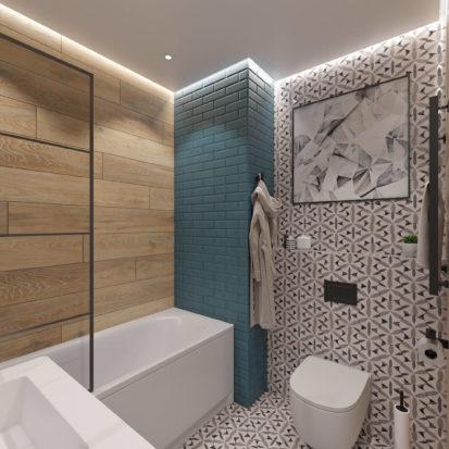 дизайн интерьера однокомнатной квартиры санузел днепр