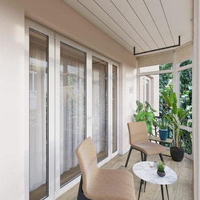 Дизайн балкона в двухкомнатной квартире Днепр