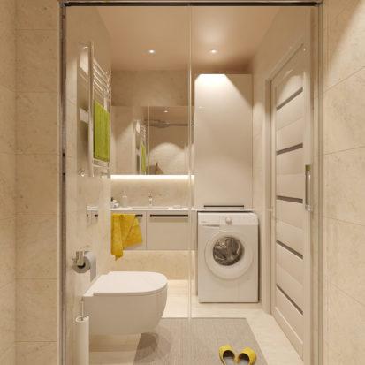 Дизайн ванной в дизайн проекте двухкомнатной квартиры