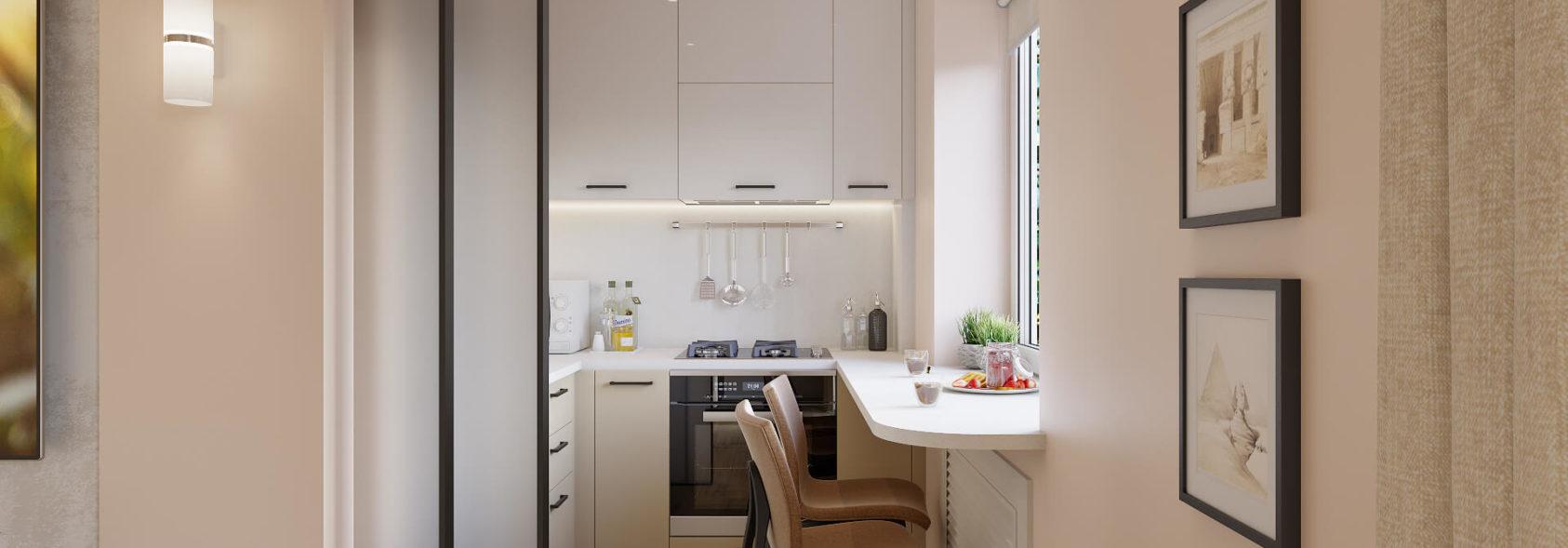 Кухня в дизайне двухкомнатной квартиры (Днепр)