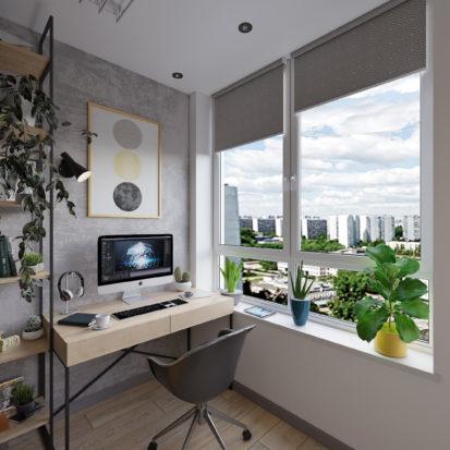Дизайн интерьера Трехкомнатной квартиры Киев кабинет