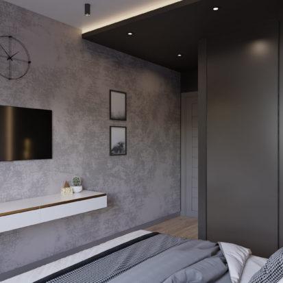 Дизайн интерьера спальни в трехкомнатной квартире Киев