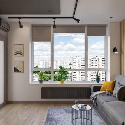 Дизайн интерьера трехкомнатной квартиры Киев гостиная