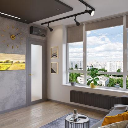 Дизайн трехкомнатной квартиры Киев Гостиная