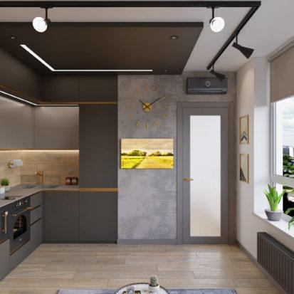 Дизайн трехкомнатной квартиры Киев кухня