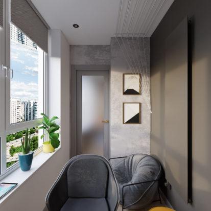 Дизайн трехкомнатной квартиры Киев лоджия