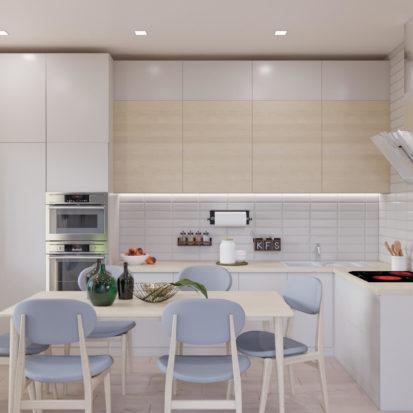 Дизайн интерьера кухни 3х комнатная квартира Запорожье