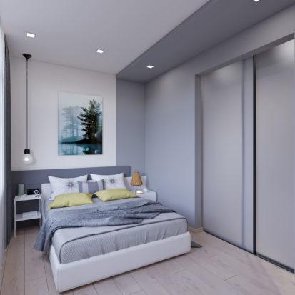 Дизайн интерьера спальни 3х комнатная квартира Запорожье