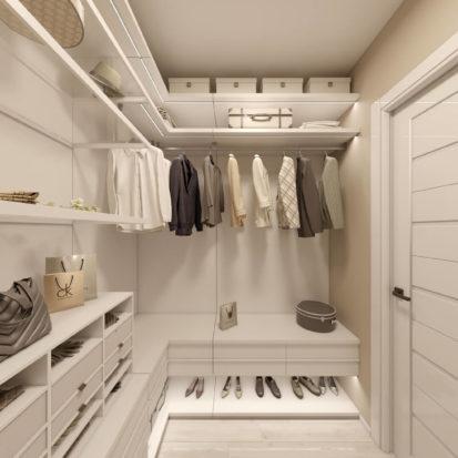 Дизайн гардеробной в четырехкомнатной квартире Киев