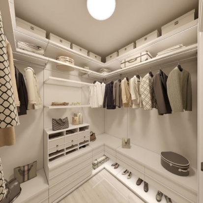 Дизайн гардеробной в 4х комнатной квартире Киев