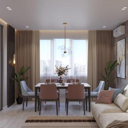 Дизайн гостинной в четырехкомнатной квартире Киев