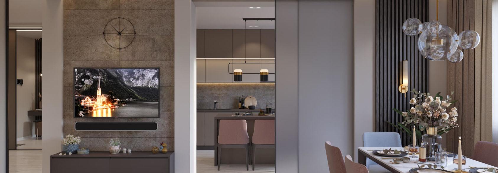 Дизайн гостинной в 4х комнатной квартире Киев