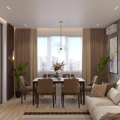 Дизайн гостиной в четырехкомнатной квартире Киев