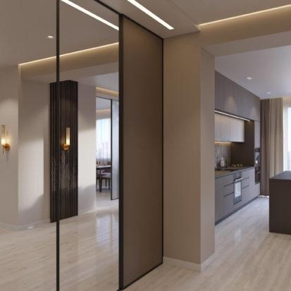 Дизайн гостиной-прихожей Киев