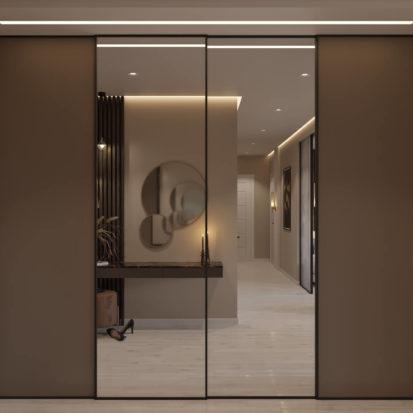 Дизайн гостиной прихожей в четырехкомнатной квартире Киев