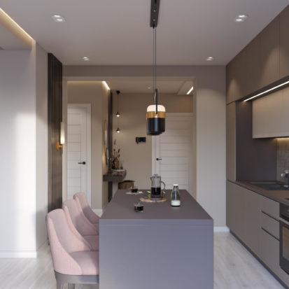 Дизайн интерьера кухни-студии Киев