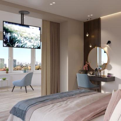 Дизайн интерьера спальни Киев 4к квартира