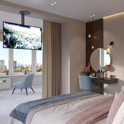 Дизайн интерьера спальни с балконом Киев