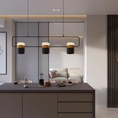 Дизайн кухни студии в четырехкомнатной квартире Киев