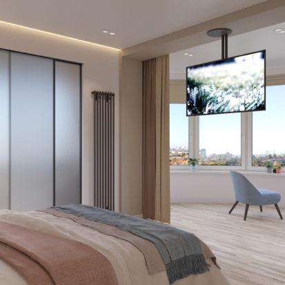 Дизайн спальни в четырехкомнатной квартире Киев