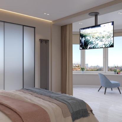 Дизайн спальни с балконом в четырехкомнатной квартире Киев