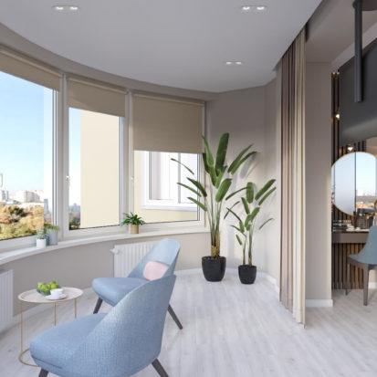 Дизайн спальни с балконом в 4к квартире Киев