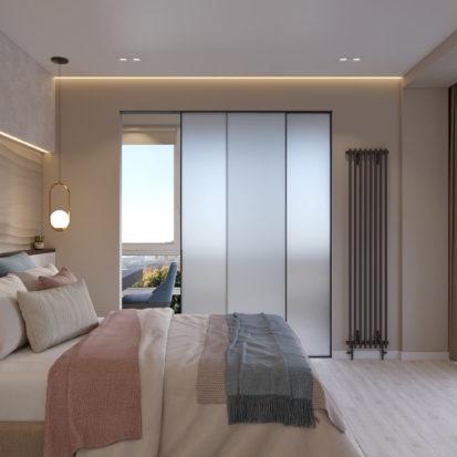 Дизайн спальни с балконом в 4х комнатной квартире Киев