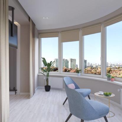 Дизайн спальни с балконом четырехкомнатная квартира Киев