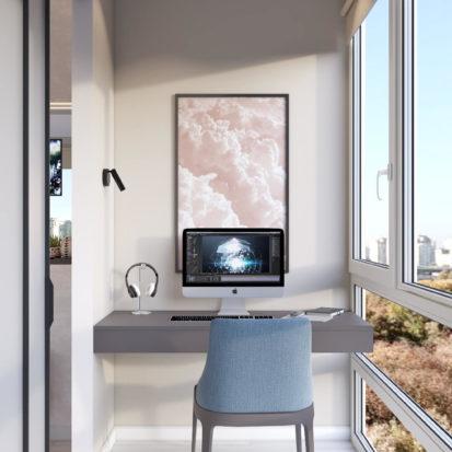 Дизайн четырехкомнатной квартиры Киев Кабинет в спальне