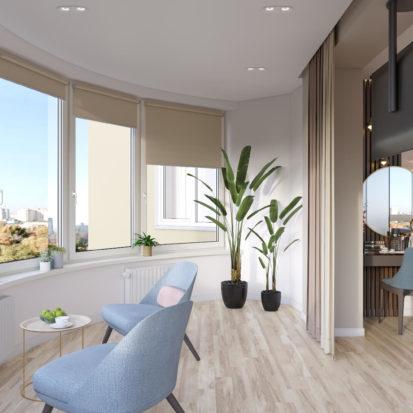 Дизайн четырехкомнатной квартиры Киев балкон