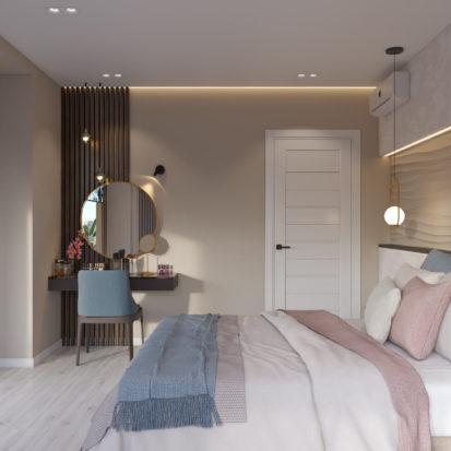 Дизайн 4к квартиры Киев спальня с балконом