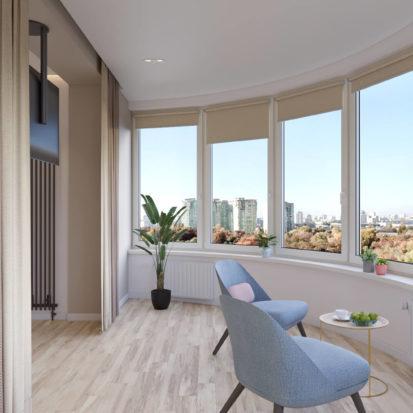 Дизайн 4х комнатной квартиры Киев балкон