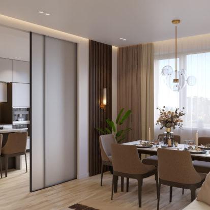 Дизайн 4х комнатной квартиры Киев гостиная