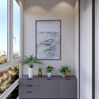 Дизайн 4х комнатной квартиры Киев кабинет в спальне
